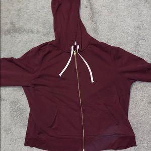 Old Navy maroon zip sweatshirt.